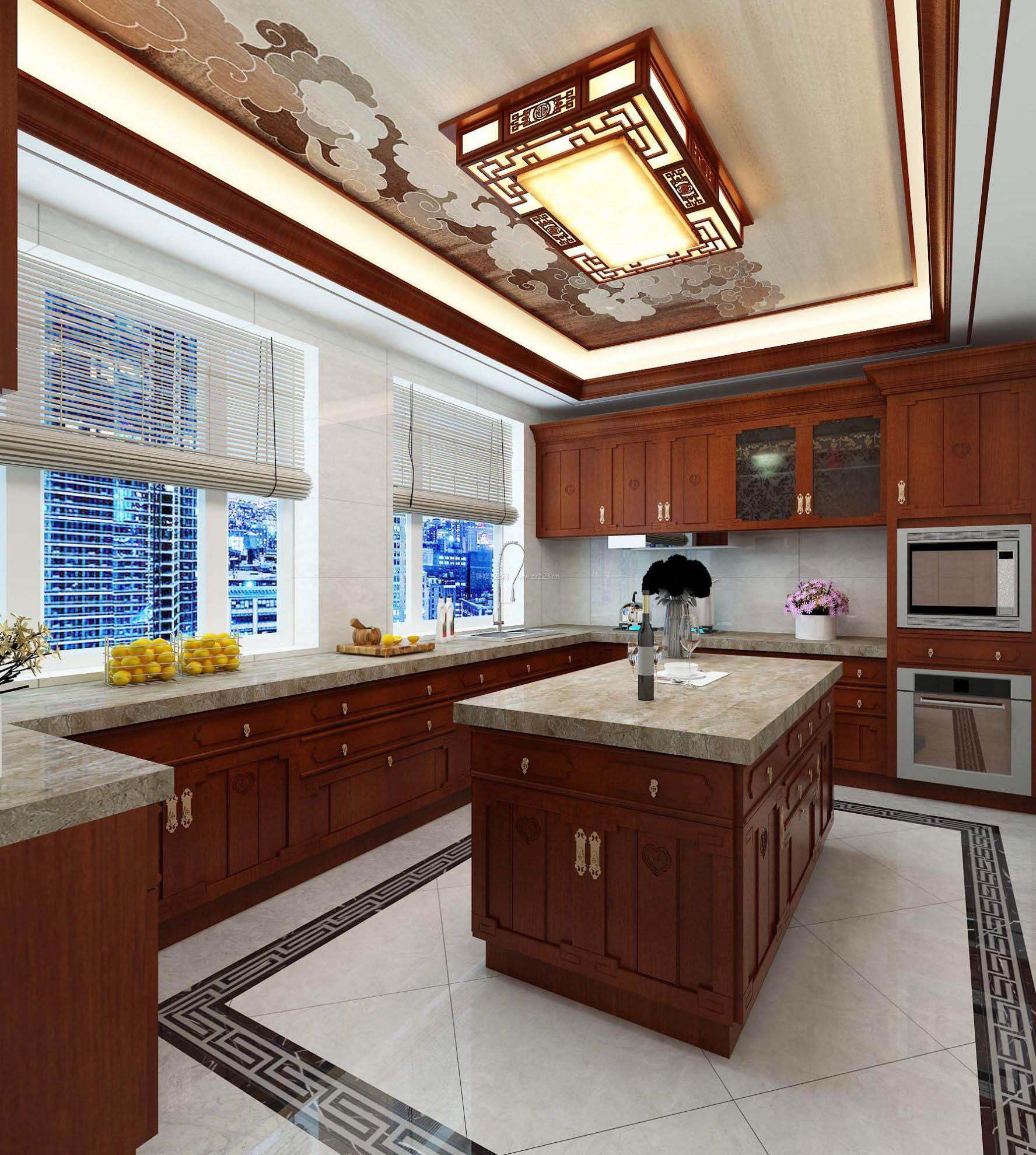 2017中式风格新厨房窗户效果图