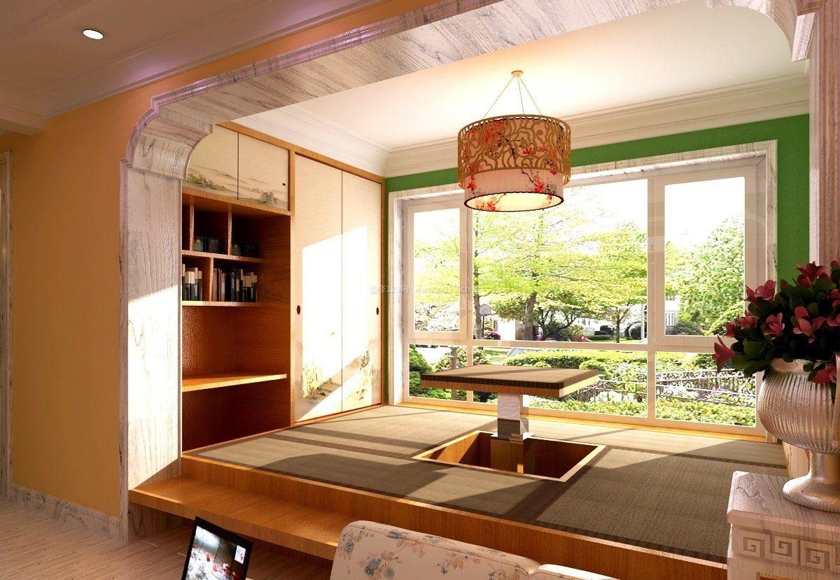 2017家庭阳台实木升降茶几图片_装修123效果图