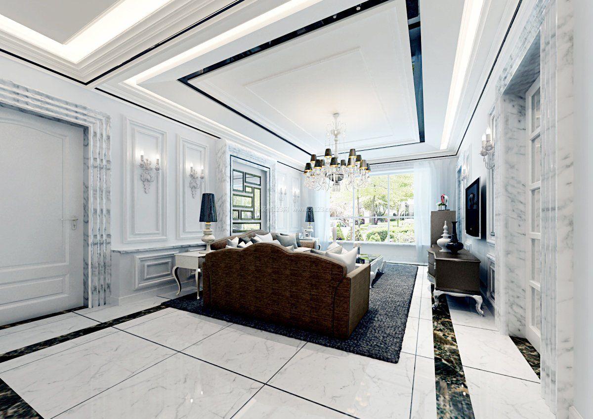 2017豪华欧式别墅客厅吊顶效果图图片