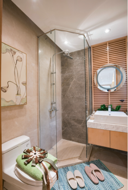 2017新中式卫生间玻璃淋浴房设计装修效果图