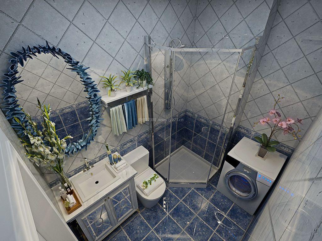 2017美式卫生间玻璃淋浴房装修效果图大全