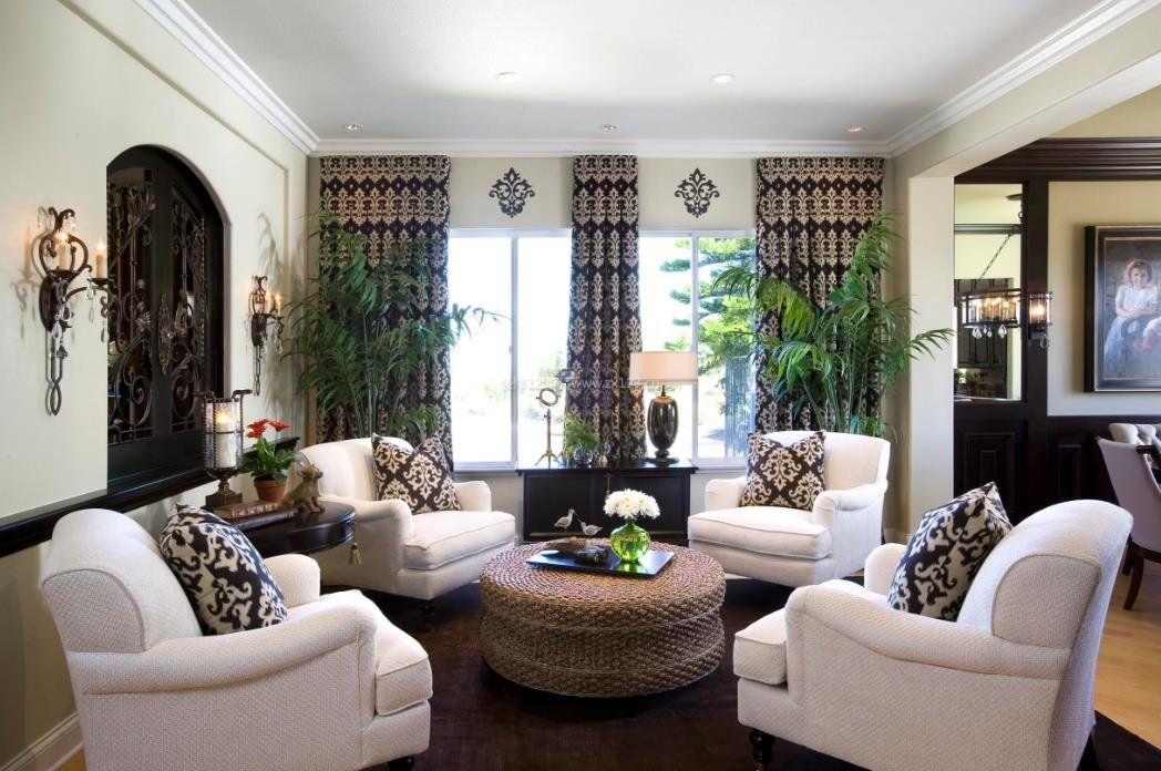 2017现代美式客厅淑女型窗帘设计图片