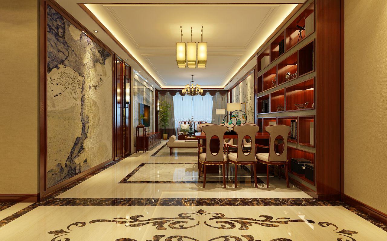家装效果图 中式 2017现代新中式餐厅酒柜设计装修效果图 提供者