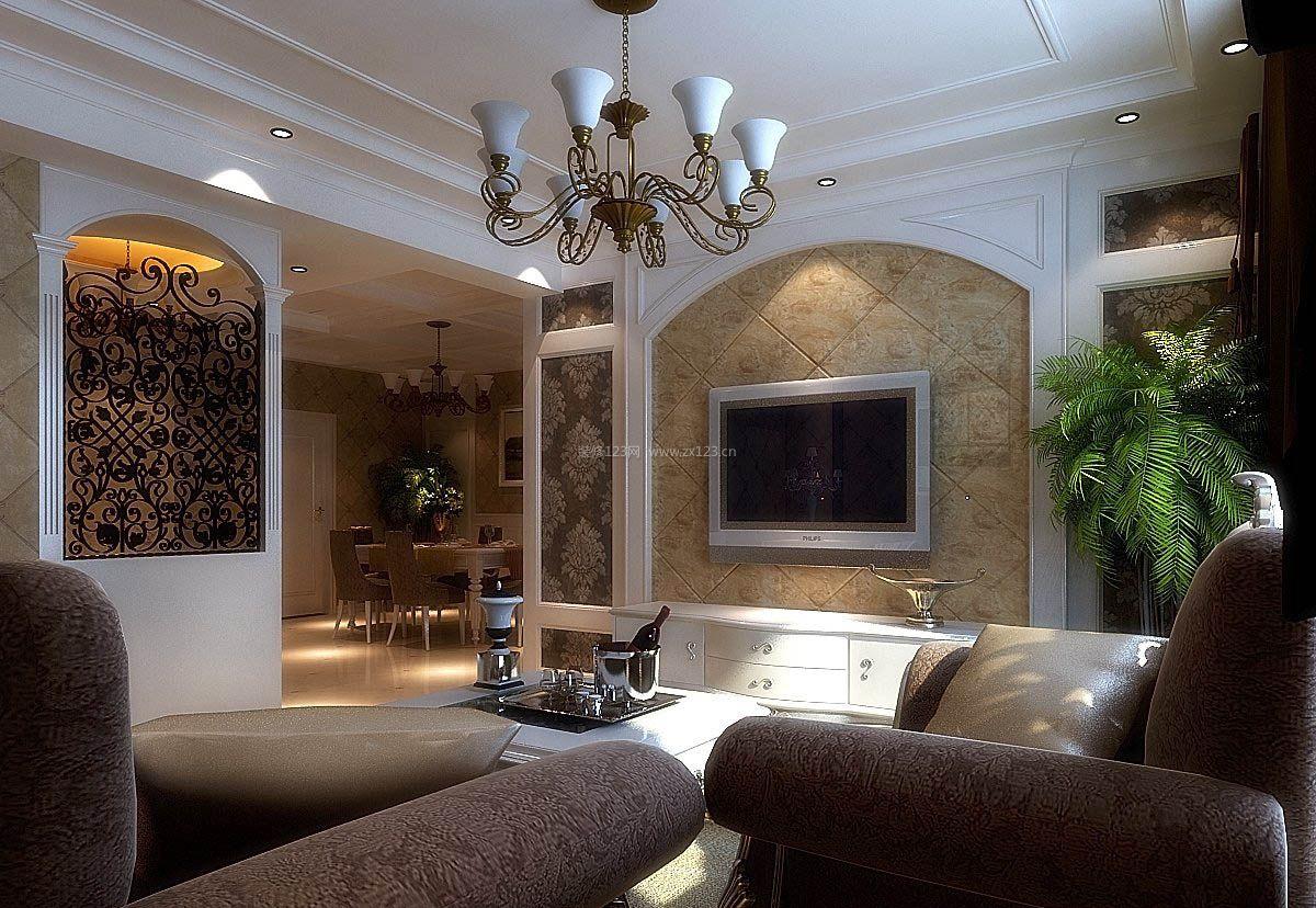 2017客厅欧式仿古砖背景墙设计效果