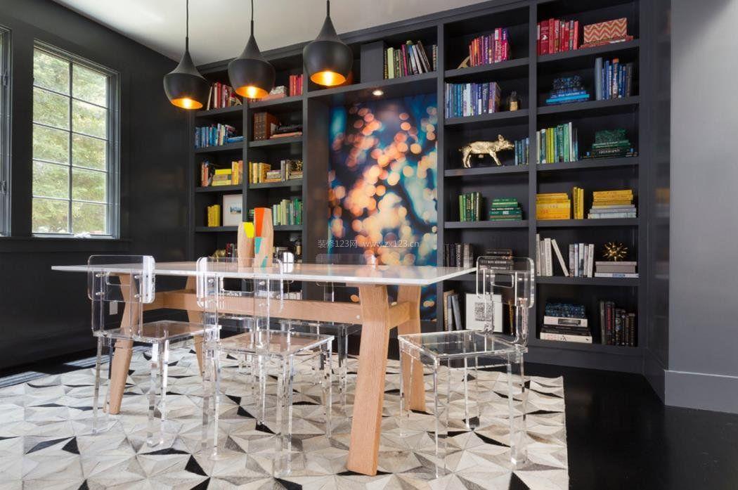 2017现代风餐厅背景墙书柜效果图