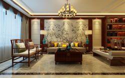 2017现代中式客厅沙发背景墙设计效果图片_装修123图片