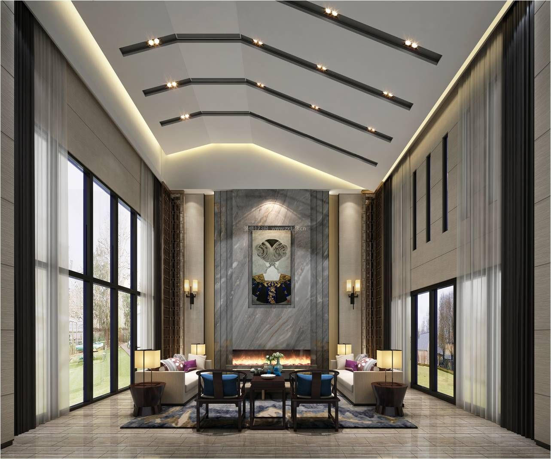 2017大气新中式别墅客厅吊顶造型设计图片