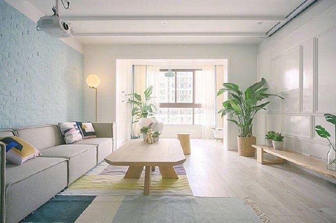2017北欧原木风格室内客厅盆栽摆放装修图片