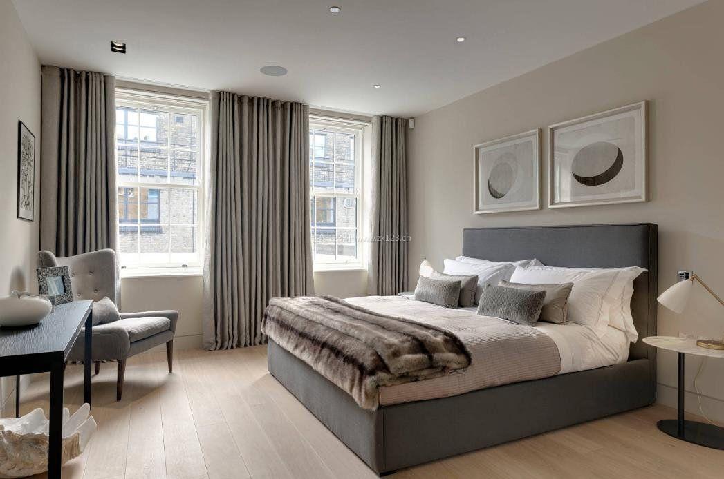 2017现代家庭装修卧室灰色窗帘效果图
