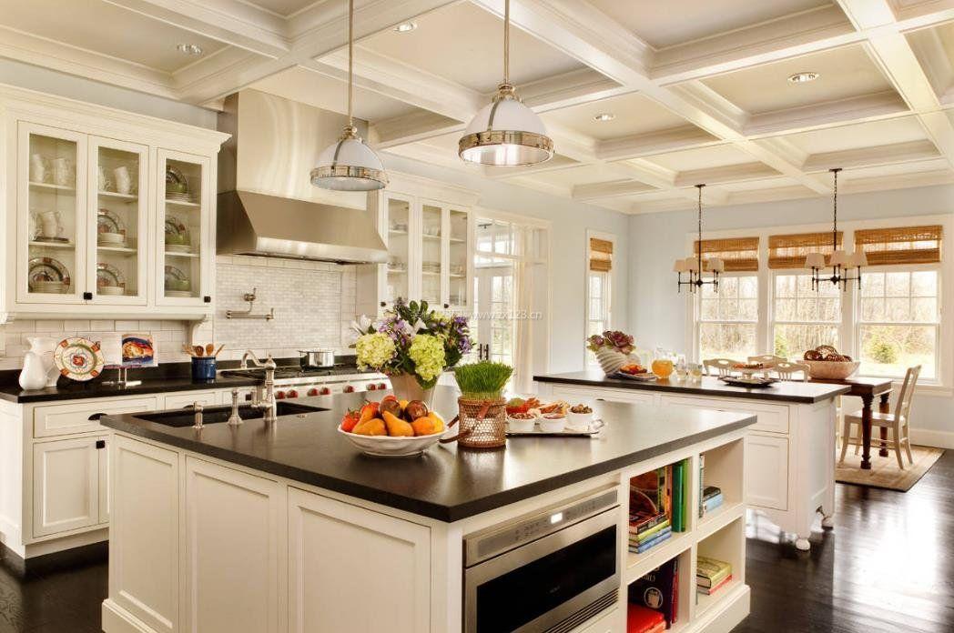 2017别墅厨房吧台造型装修设计图