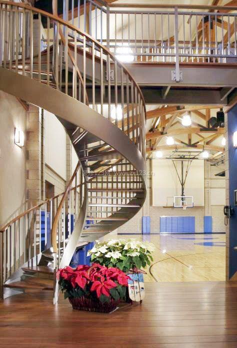 2017简约家庭复式楼旋转楼梯设计图