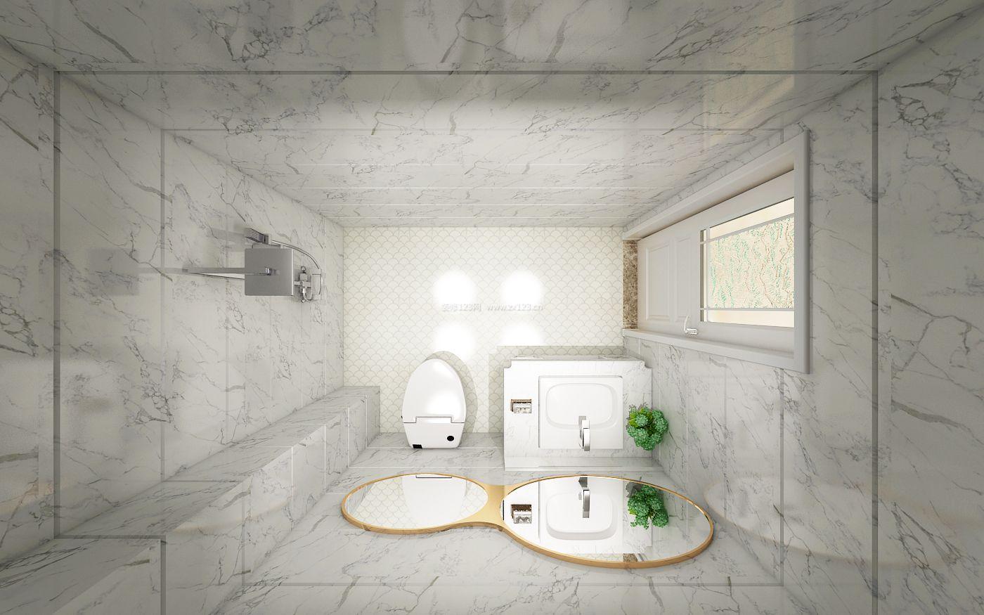 2017低调现代简易卫生间大理石背景墙装修效果图片