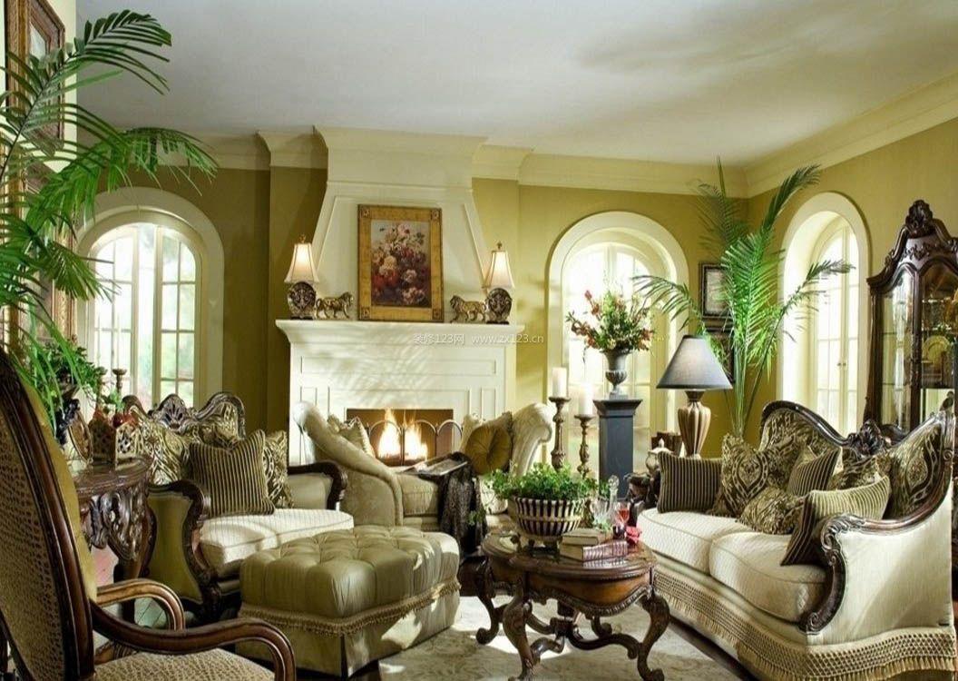 2017美式复古风格客厅壁炉图片欣赏