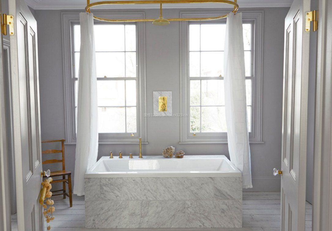 2017浴室窗帘浴帘装修效果图片