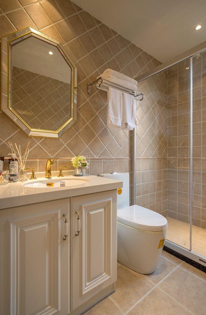 2017美式卫生间浴室玻璃隔断装修效果图大全