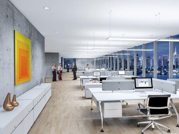 白色现代简单办公室装修效果图图片