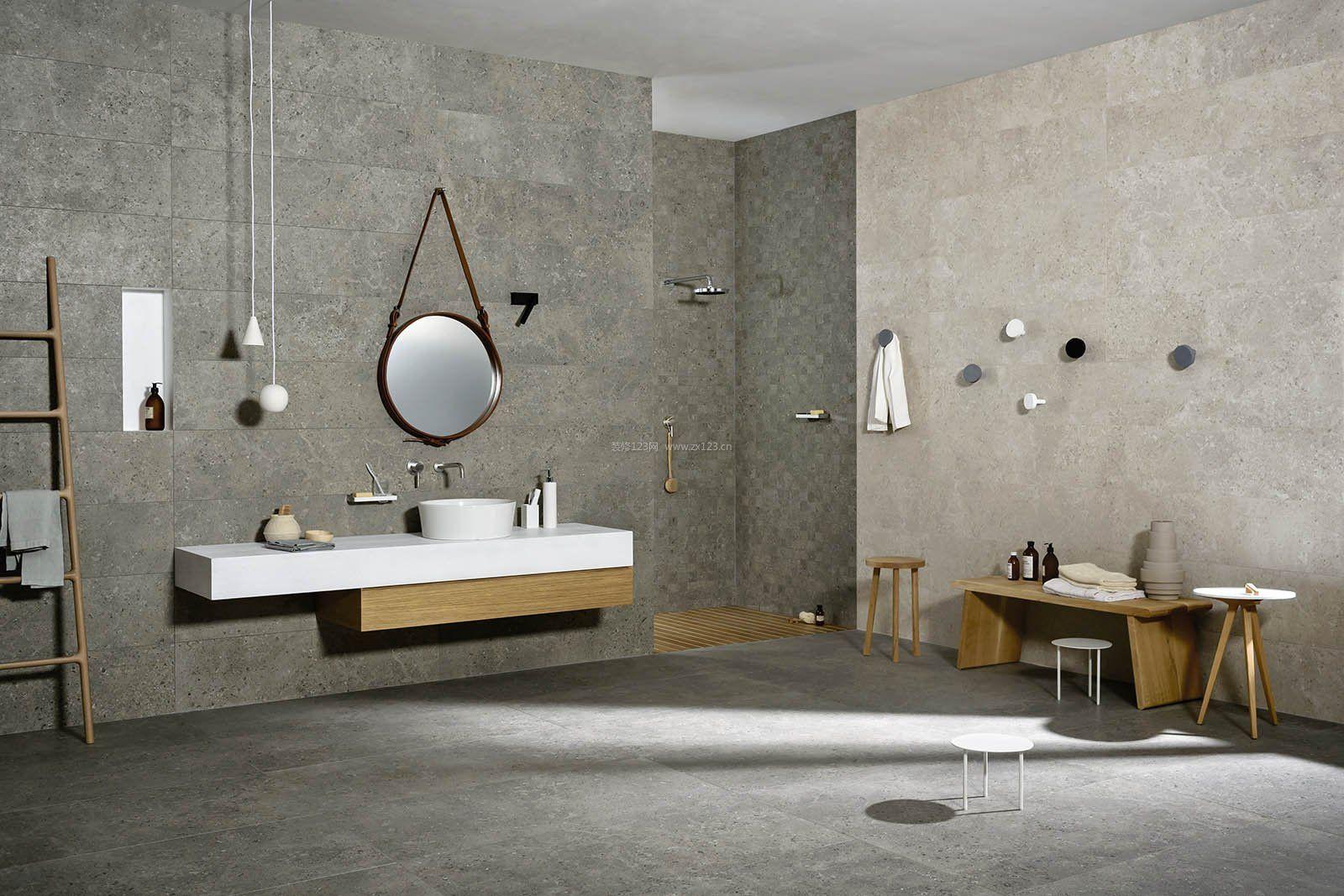 2017现代浴室置物架木质装修效果图