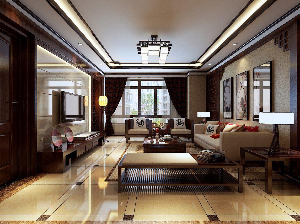 2017中式风格客厅室内地板瓷砖装饰设计