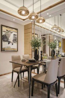 2017时尚现代风格餐厅镜面背景墙装饰图片