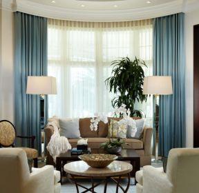2017客廳淡藍色窗簾設計效果圖片-每日推薦