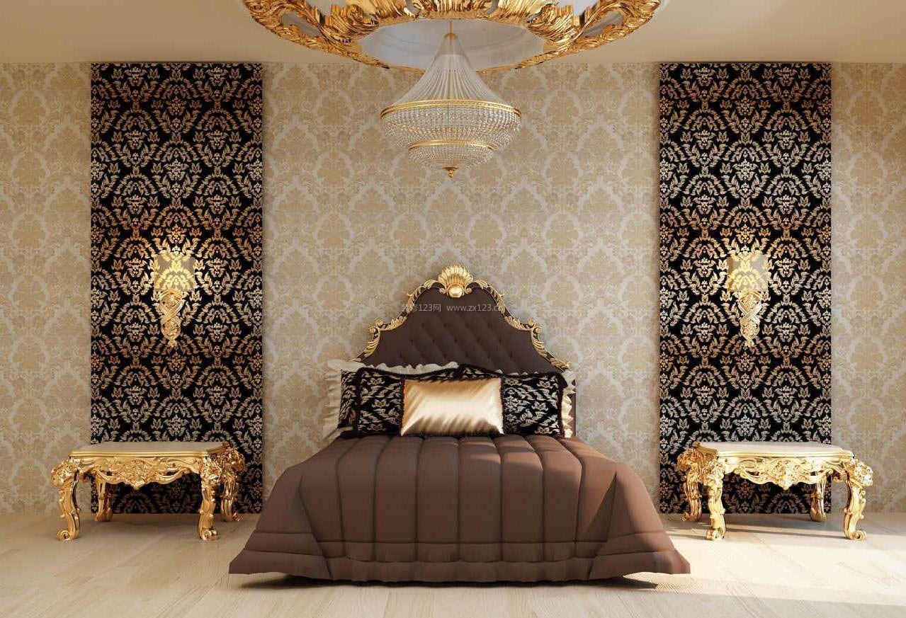 2017复古欧式卧室花纹壁纸装修效果贴图