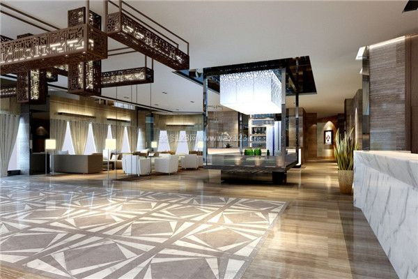 新中式风格酒店大堂装修效果图图片