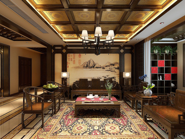 2017中式别墅客厅实木家具装修效果图片