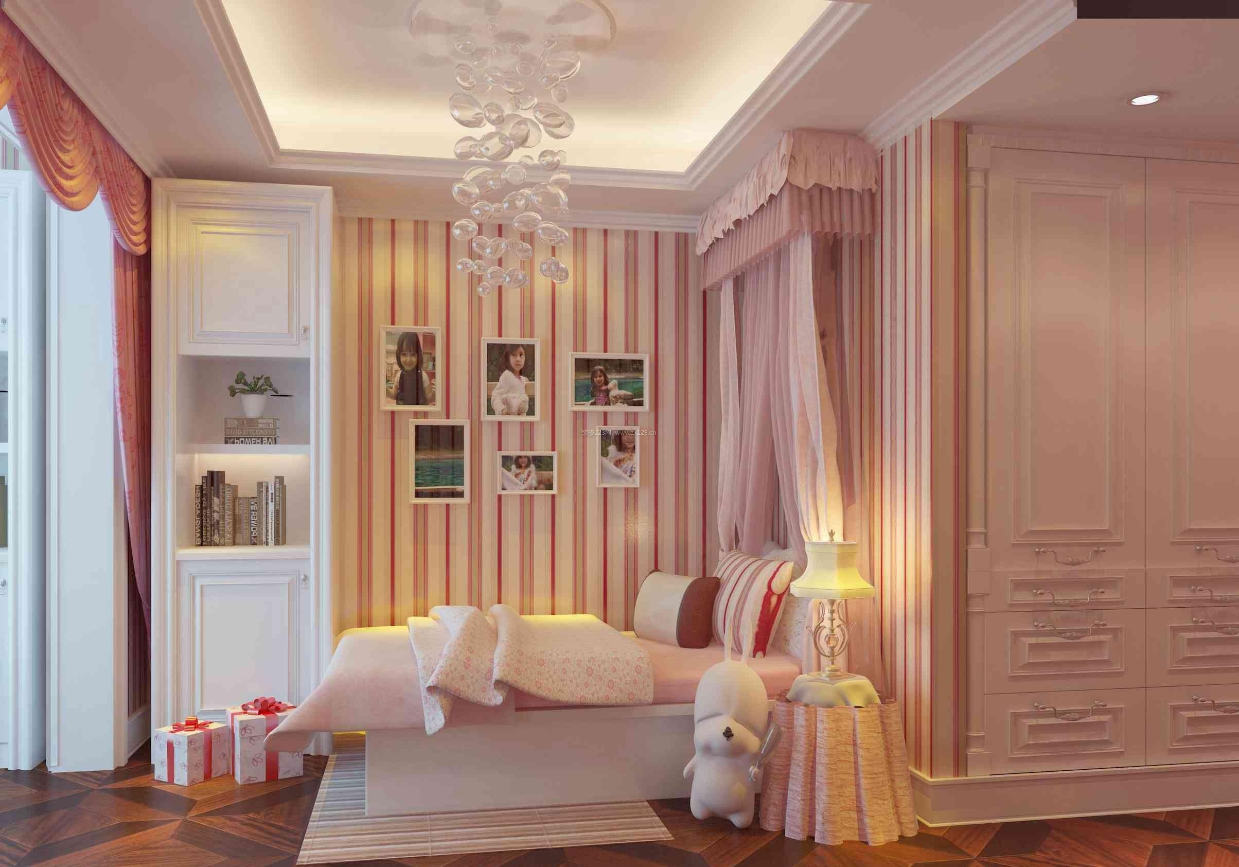 2017欧式粉色卧室吊顶装修效果图图片
