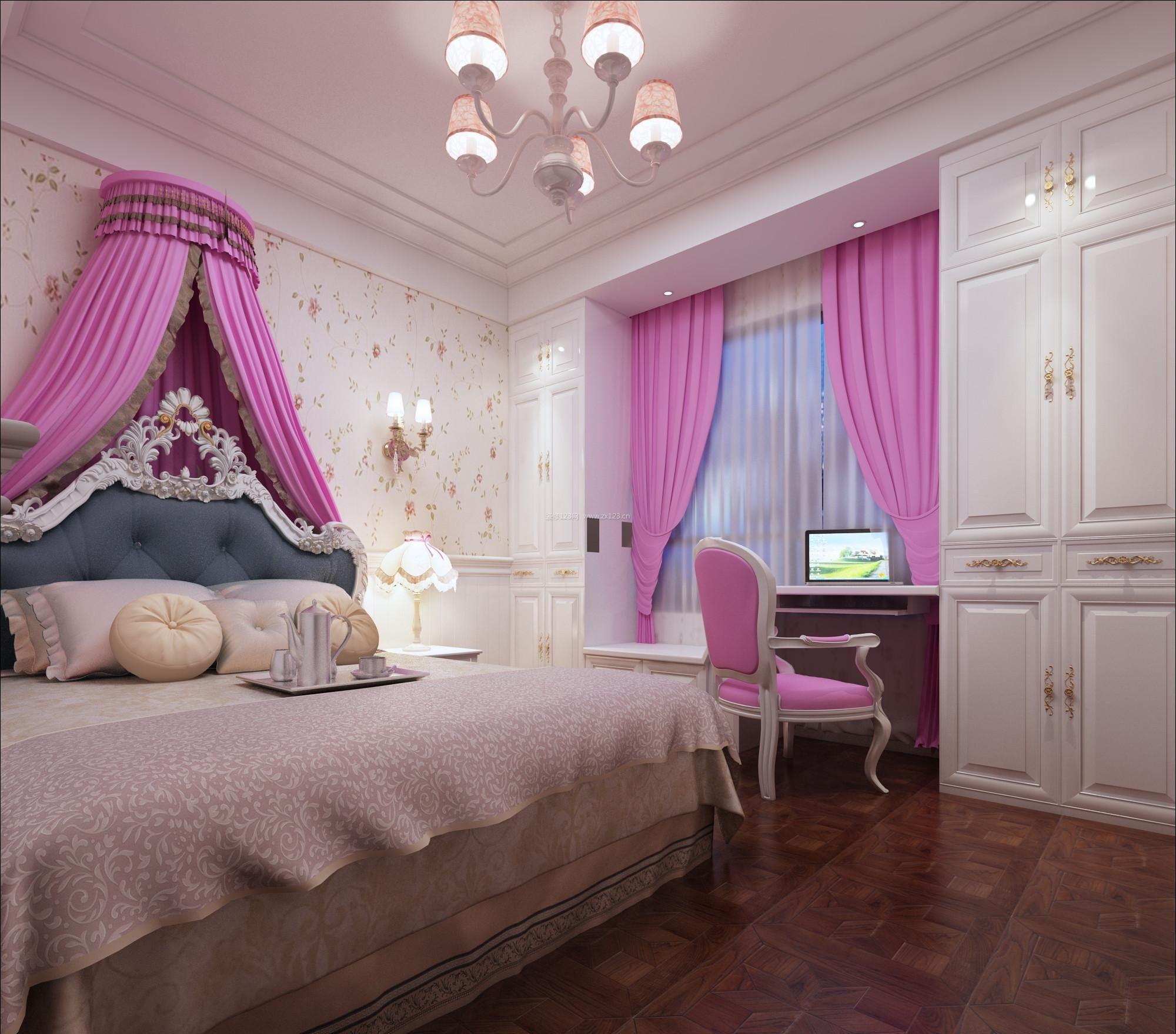 2017欧式粉色卧室吊顶效果图欣赏_装修123效果图图片