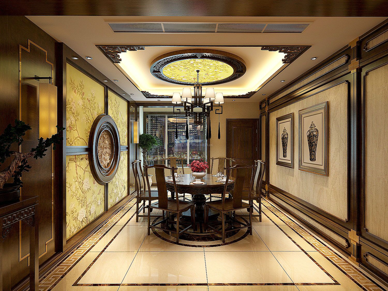 家装效果图 中式 2017中式别墅餐厅背景墙装饰装修效果图片欣赏 提供
