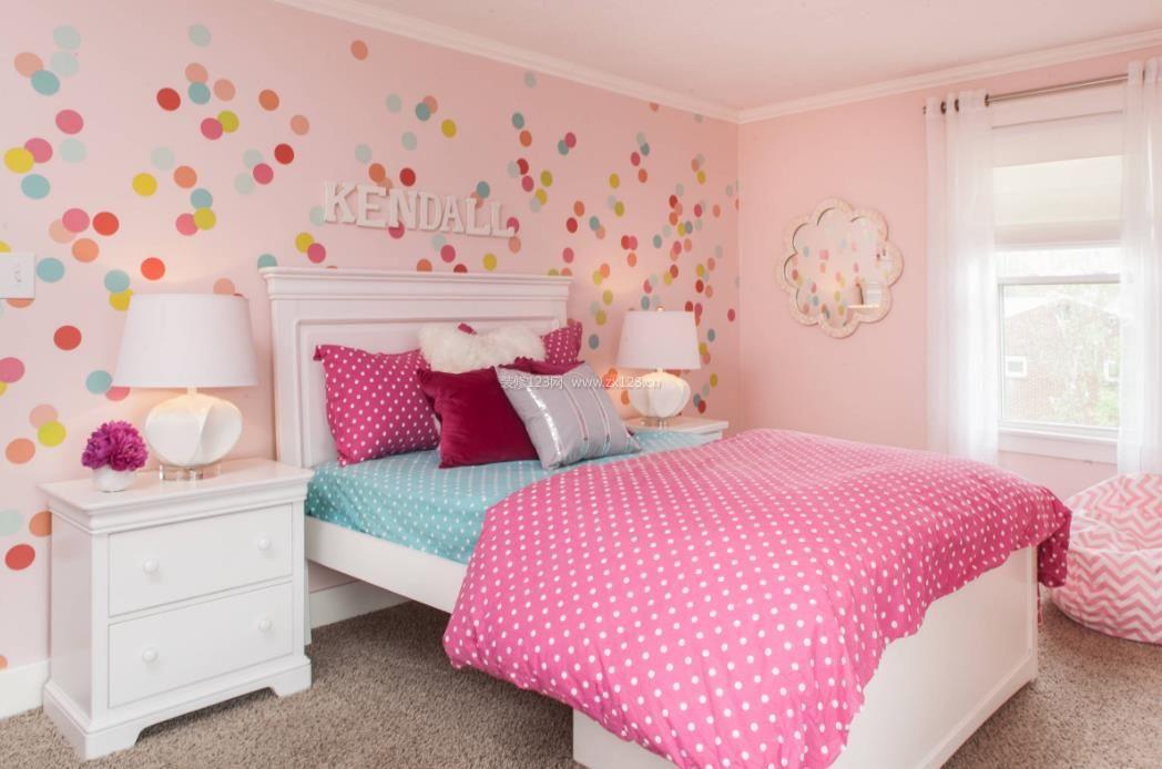 2017欧式可爱粉色卧室吊顶效果图_装修123效果图