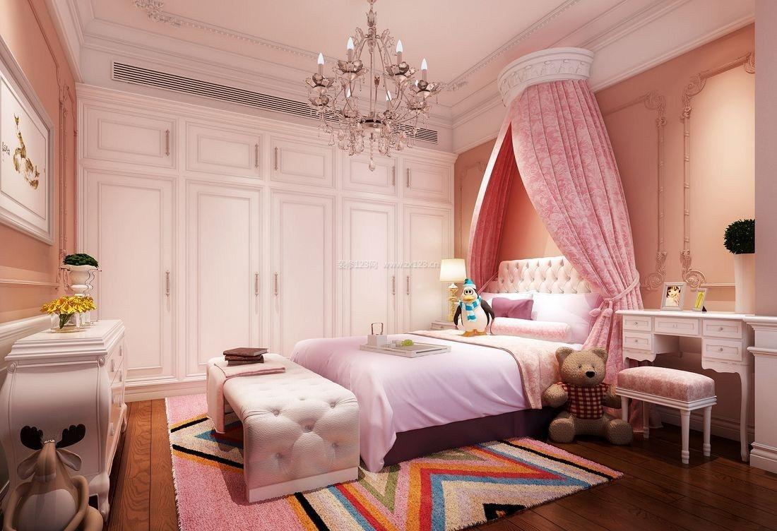 2017欧式粉色卧室家居吊顶效果图_装修123效果图图片