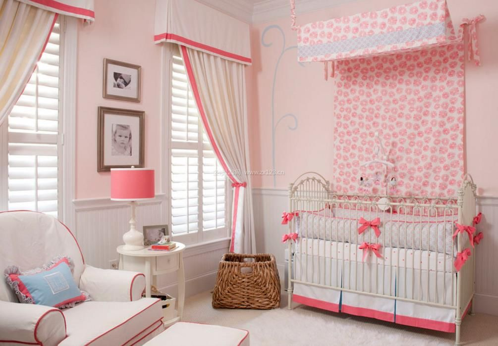 2017欧式粉色婴儿卧室吊顶效果图