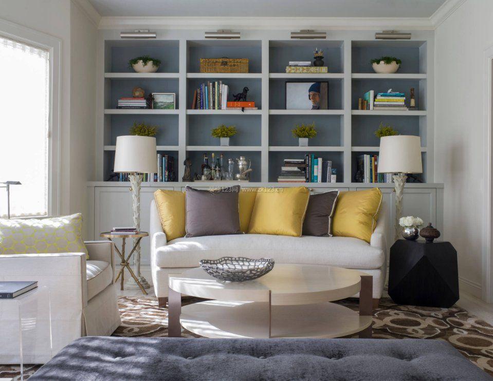 2017家庭沙发背景墙小书柜效果图