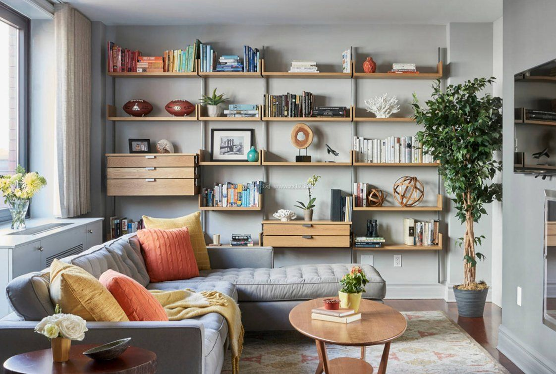 2017家庭客厅创意小书柜效果图_装修123效果图