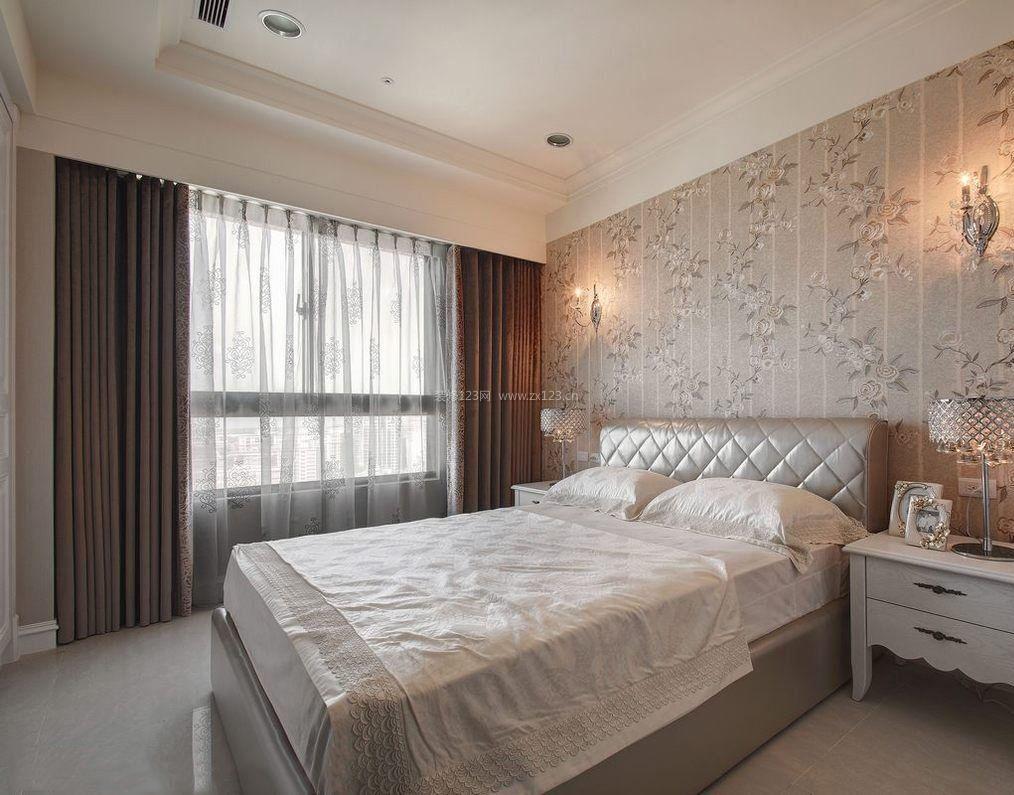 2017卧室落地布艺窗帘装饰效果图_装修123效果图