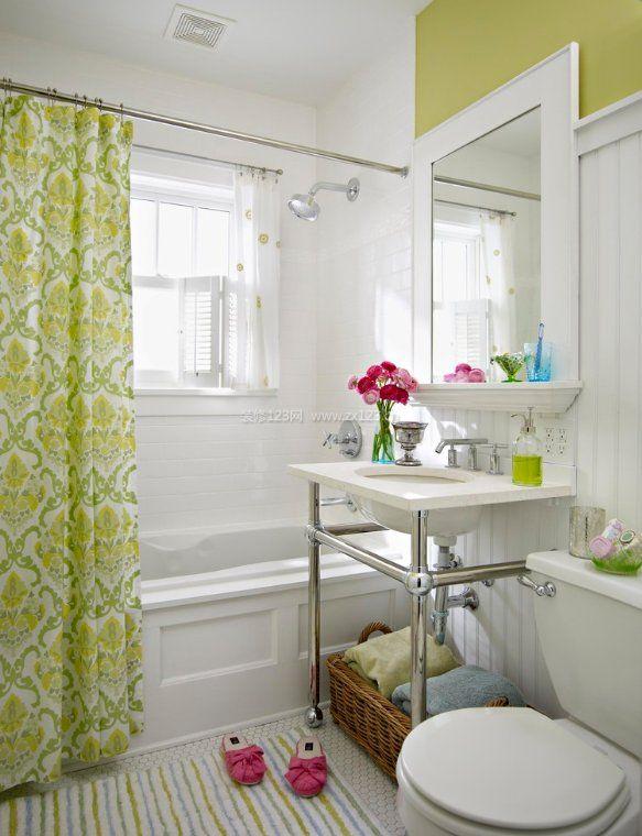 2017浴室绿色布艺浴帘装修图片_装修123效果图