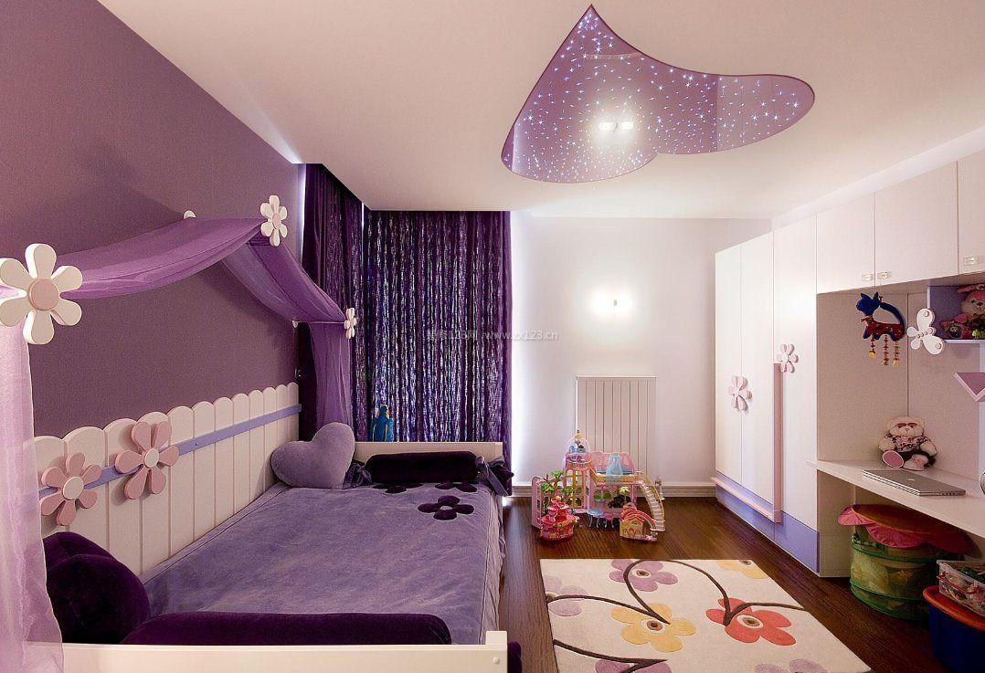 2017儿童房紫色窗帘家装设计实景图片大全