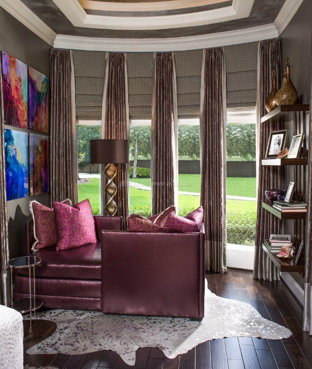 2017房间紫色窗帘家装设计图片