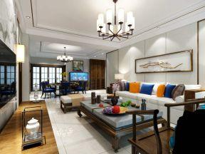 2017大气新中式风格客厅 沙发背景墙设计效果图图片