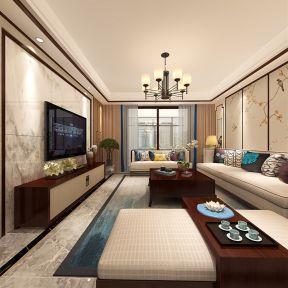 2017大气新中式风格客厅装修图片 2017大理石电视背景墙图图片