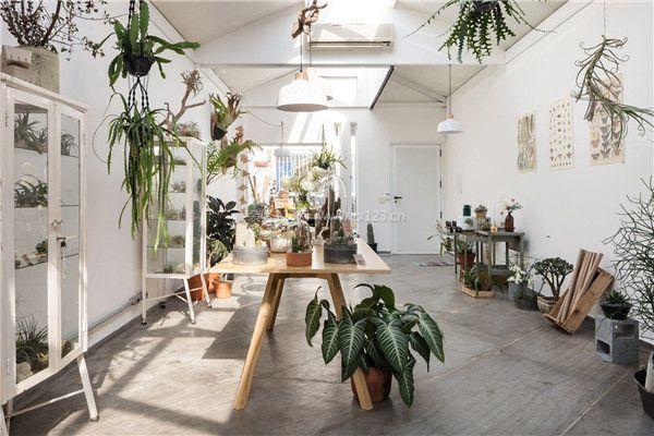 盆栽花店装修白色墙面设计效果图图片