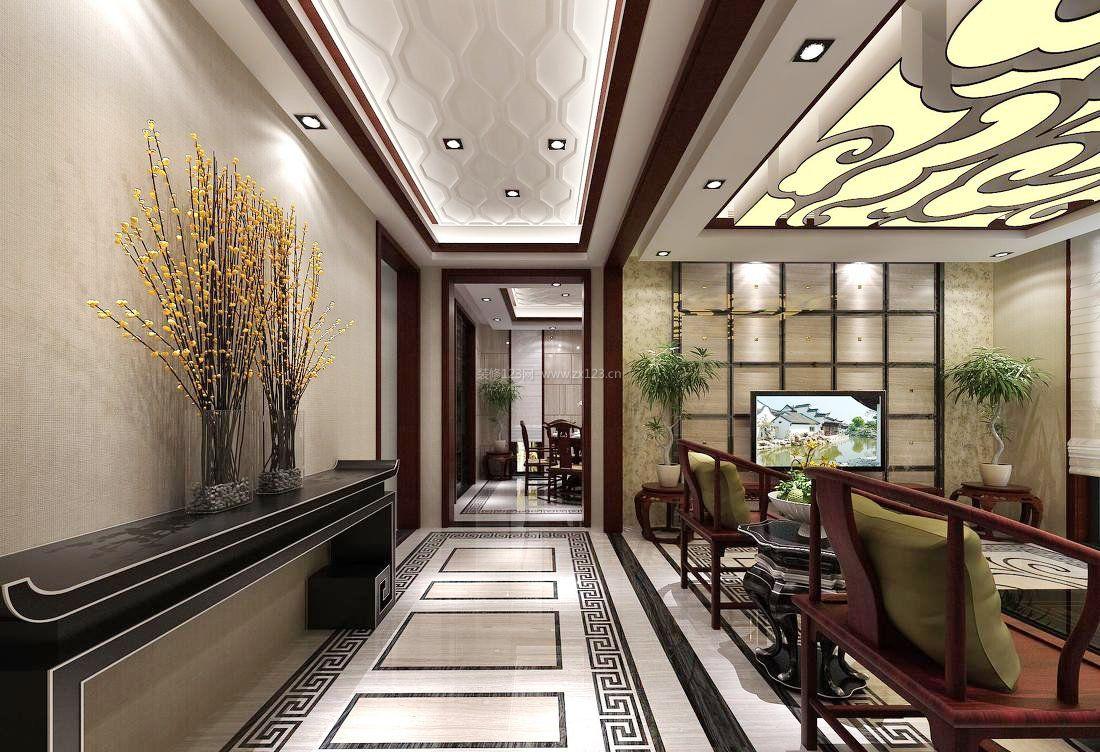 2017别墅中式茶室吊顶装修效果图