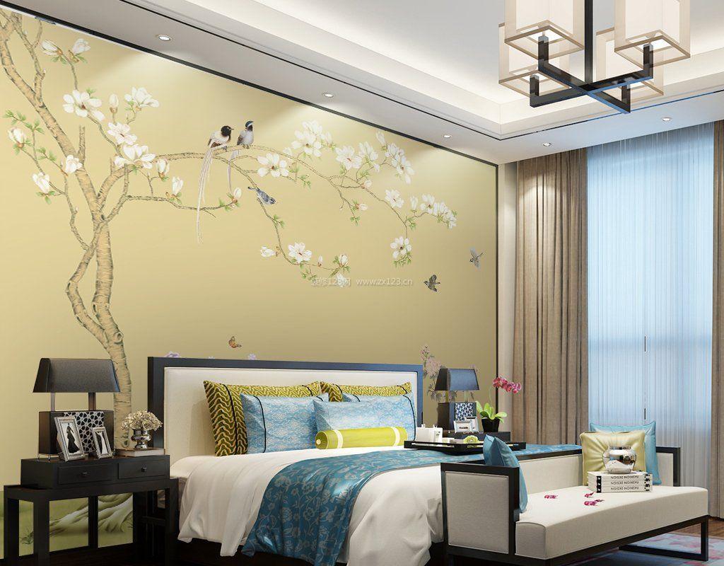 2017新中式卧室墙纸设计图片大全