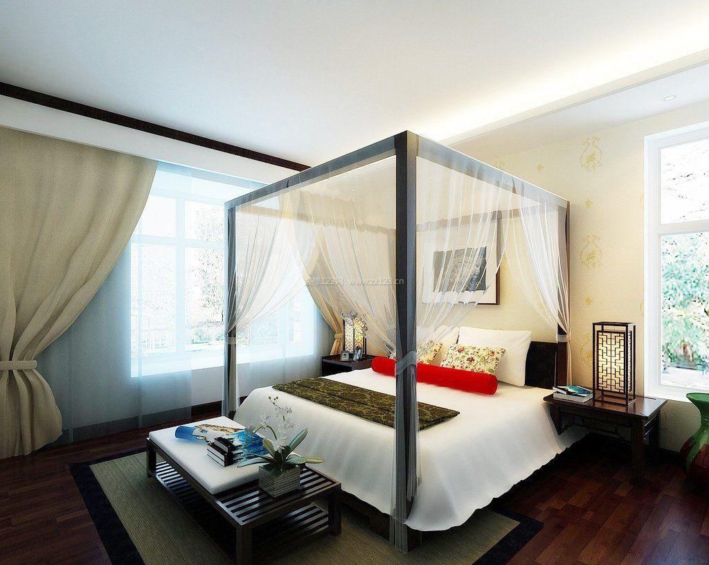 2017新中式卧室墙纸装修效果图片大全