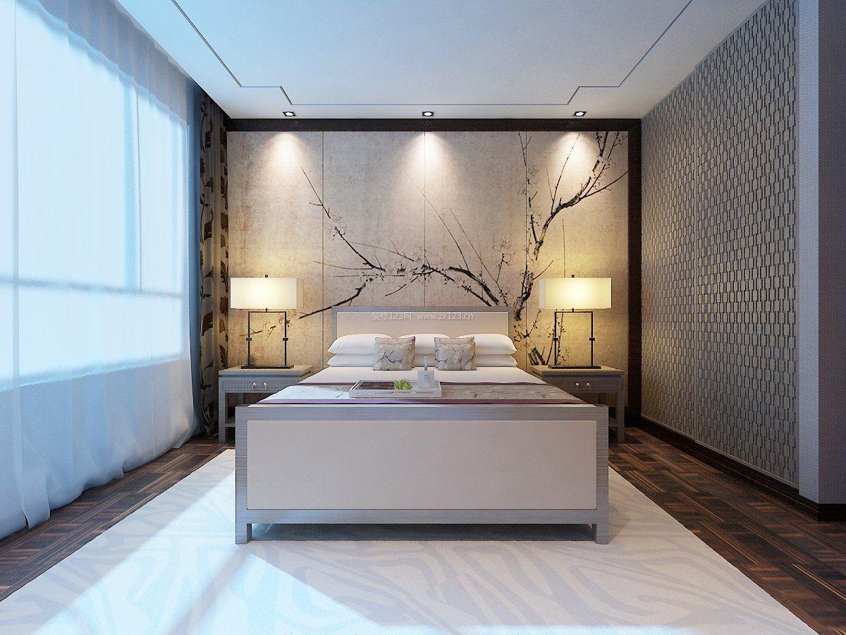 2017新中式装饰风格卧室墙纸图片大全_装修123效果图