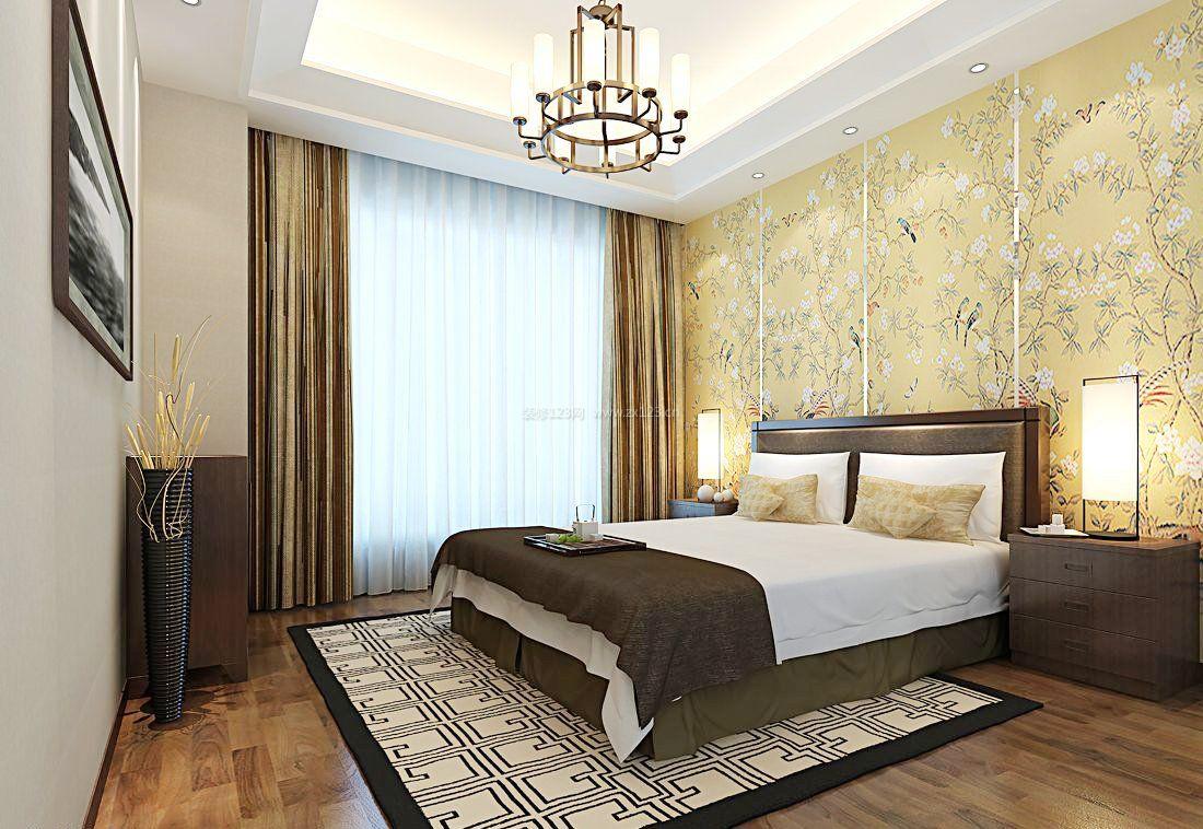 2017年别墅新中式卧室墙纸图片大全_装修123ag路子 官方网站