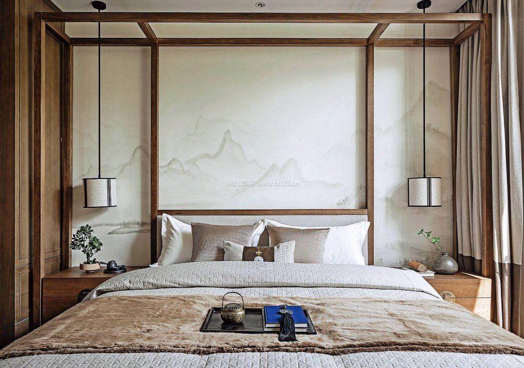 2017新中式卧室床头背景墙墙纸图片大全图片
