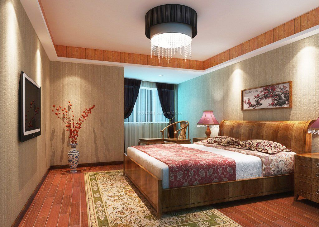 2017新中式卧室简约墙纸图片大全