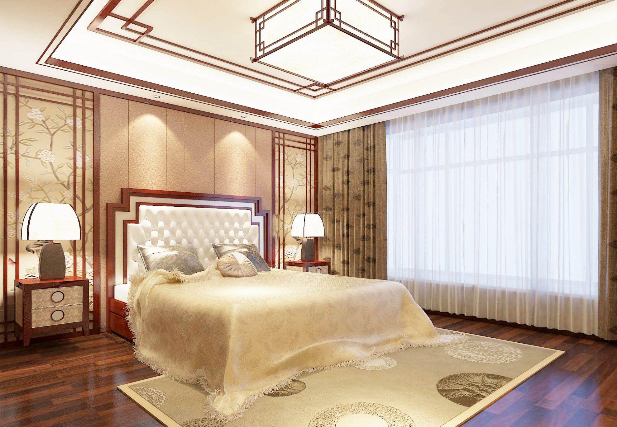 2017新中式卧室风格墙纸图片大全